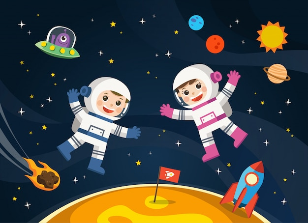 Astronauta na planecie z kosmicznym statkiem kosmicznym. sceny kosmiczne.