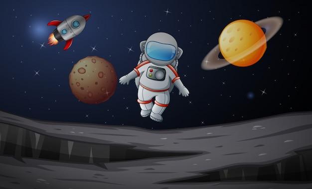 Astronauta na planety sceny ilustraci