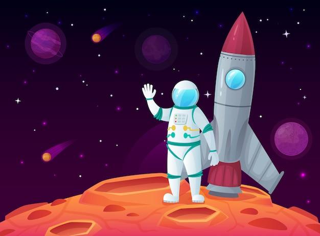Astronauta na powierzchni księżyca, rakietowy statek kosmiczny, planeta kosmiczna i podróż kosmiczna kosmiczna kreskówka