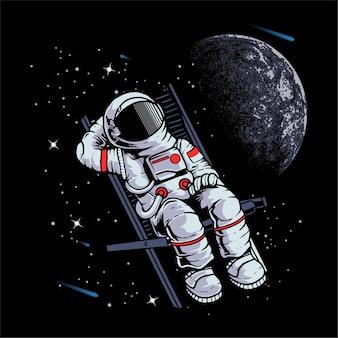 Astronauta odpoczywa w kosmosie