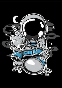 Astronauta perkusista postać z kreskówki