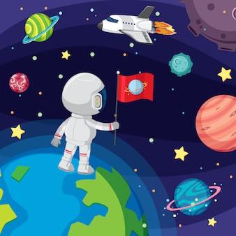 Astronauta pływający w przestrzeni kosmicznej
