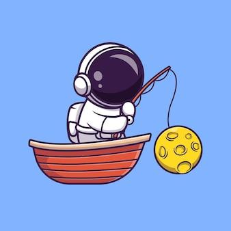 Astronauta Połowu Księżyca Na Ilustracji Kreskówki łodzi. Koncepcja Wakacje Nauka Na Białym Tle. Płaski Styl Kreskówki Premium Wektorów