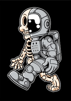 Astronauta postać z kreskówki pół czaszki