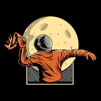 Astronauta przedstawia ilustrację mołotowa