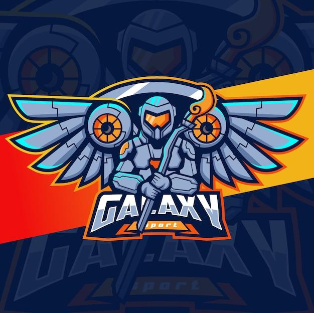 Astronauta robot maskotka ze skrzydłami i logo esport broni