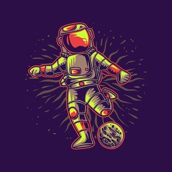 Astronauta salta kopiąc piłkę w księżyc