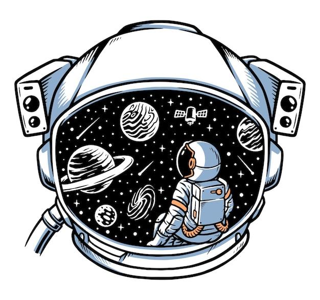 Astronauta siedzący i kontemplujący w ramie kasku