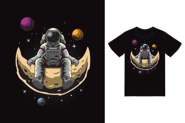 Astronauta siedzący na ilustracji księżyca z projektem koszulki wektor premium