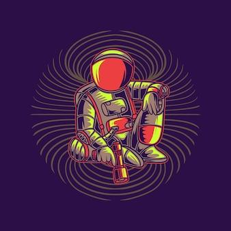 Astronauta siedzący z ilustracją pistoletu