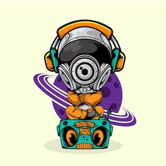 Astronauta siedzi w radiu i słucha muzyki