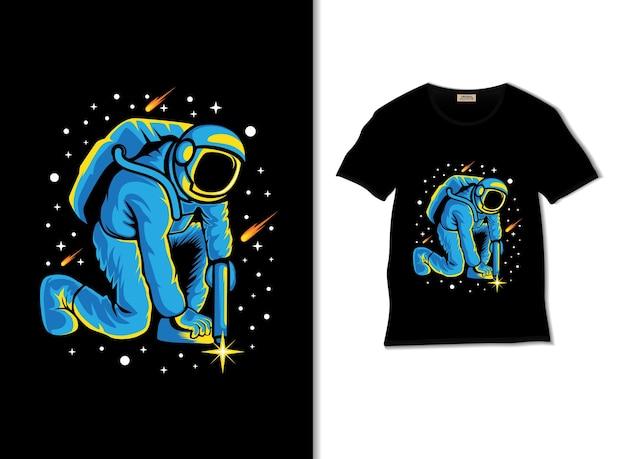 Astronauta spawająca gwiazdy w kosmicznej ilustracji z projektem koszulki
