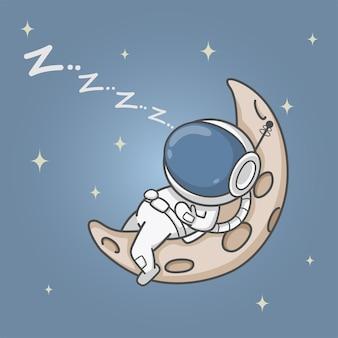 Astronauta śpiący na półksiężycu