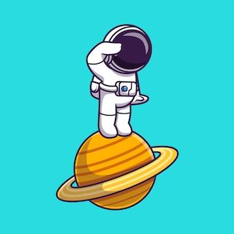 Astronauta stojący na ilustracja kreskówka planety. koncepcja technologii nauki na białym tle. płaski styl kreskówki