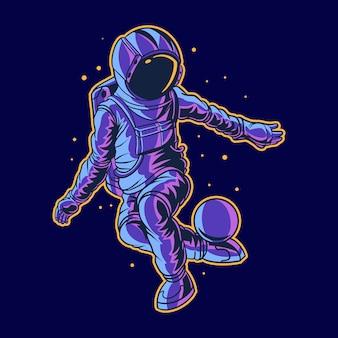 Astronauta stylem dowolnym na kosmosie z piłką
