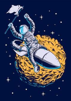 Astronauta trzyma ilustracyjną flaga