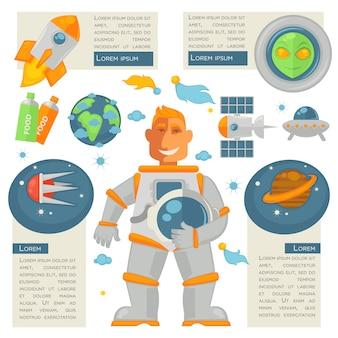 Astronauta trzyma kask i znaki przestrzeni wokół