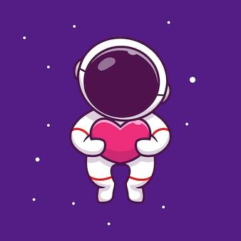 Astronauta trzyma miłość w kosmosie ikona ilustracja kreskówka. ludzie nauka przestrzeni ikona koncepcja na białym tle premium. płaski styl kreskówki