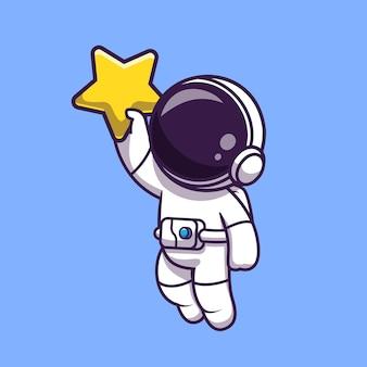Astronauta trzymając gwiazda kreskówka wektor ikona ilustracja. technologia kosmiczna ikona koncepcja białym tle premium wektor. płaski styl kreskówki