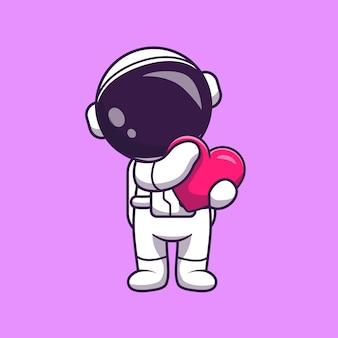 Astronauta trzymając serce kreskówka wektor ikona ilustracja. nauka technologia ikona koncepcja białym tle premium wektor. płaski styl kreskówki