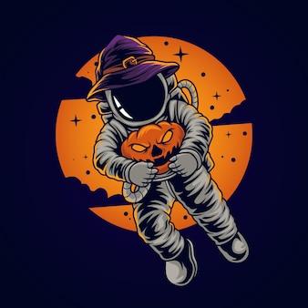 Astronauta trzymający dynię na halloween