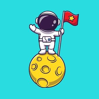 Astronauta trzymający flagę na księżycu