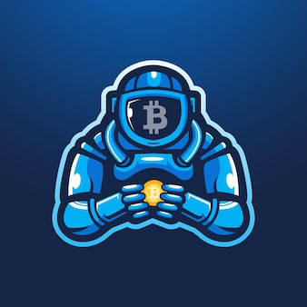 Astronauta trzymający wektor logo maskotka bitcoin