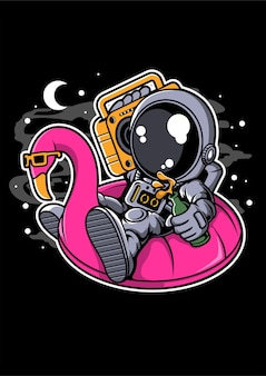 Astronauta unosi się na wodzie balon postać z kreskówki