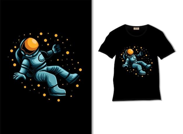 Astronauta unosząca się w kosmicznej ilustracji z projektem koszulki