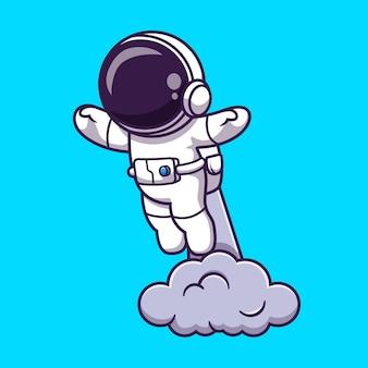 Astronauta uruchamiający się na ilustracji kreskówek kosmicznych. koncepcja technologii nauki na białym tle. płaski styl kreskówki