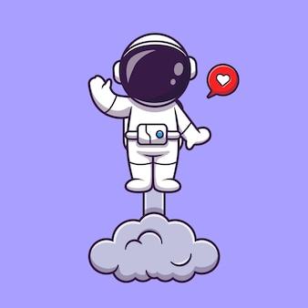 Astronauta uruchamianie na przestrzeni i macha ręką ilustracja kreskówka. koncepcja technologii nauki na białym tle. płaski styl kreskówki