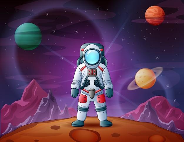 Astronauta w astronautycznej sceny ilustraci