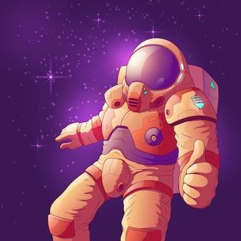 Astronauta w futurystycznym astronautycznym kostiumu pokazuje kciuk ręki up znaka