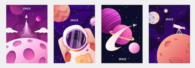 Astronauta w kosmosie planety układu słonecznego podróże kosmiczne i eksploracja zestaw szablonów kreskówek na banery karty ulotki broszury