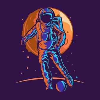 Astronauta w kosmosie z księżycem i piłką