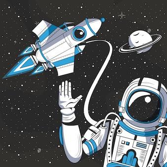Astronauta w kreskówce rysunku przestrzeni