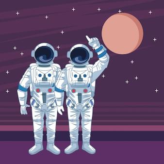 Astronauta w kreskówkach eksploracji kosmosu na białym tle