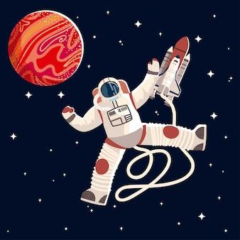 Astronauta w mundurze i hełmie ilustracja eksploracji kosmosu