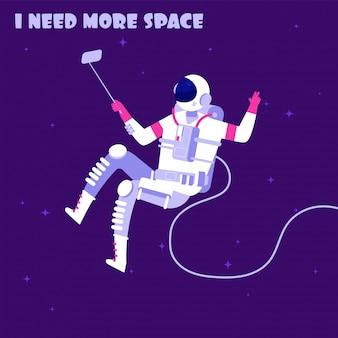 Astronauta w nieważkości. spaceman w kosmosie. potrzebuję więcej koncepcji wektorowej astronautyki