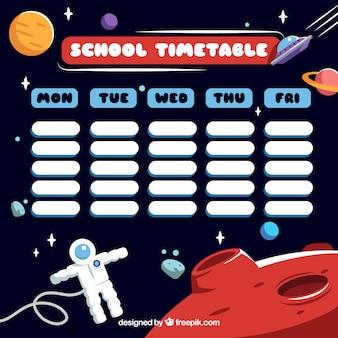 Astronauta w rozkładzie przestrzeni i szkoły