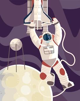 Astronauta w satelicie skafandra kosmicznego i wahadłowcu na ilustracji księżyca