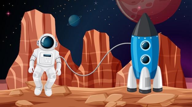 Astronauta w scenie kosmicznej