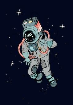 Astronauta w skafandrze. kosmonauta w kosmosie na ciemnym tle gwiazd. kolorowa ilustracja.
