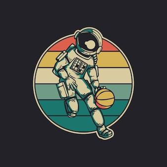 Astronauta w stylu vintage gra w koszykówkę retro vintage ilustracja