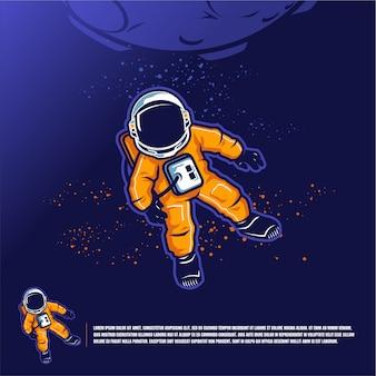 Astronauta w szablonie kosmicznym