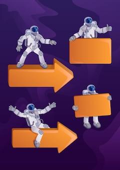 Astronauta w zestawie ilustracji postaci z kreskówek 2d w skafandrze kosmicznym