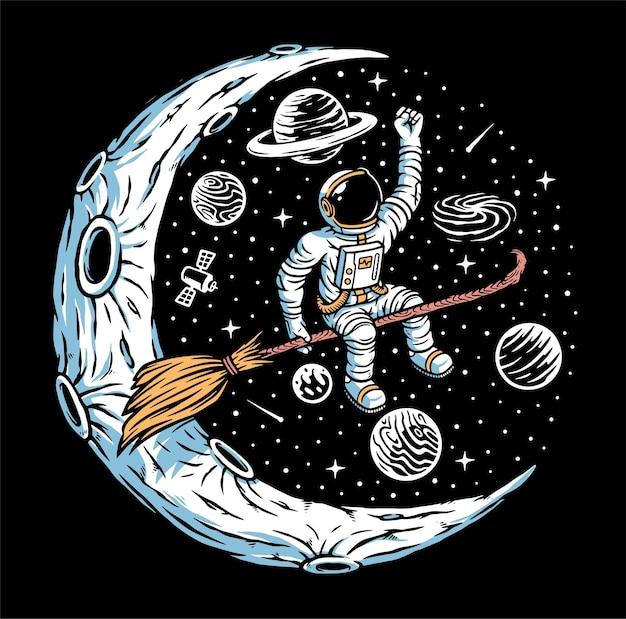 Astronauta Wiedźma Na Ilustracji Księżyca Premium Wektorów