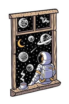 Astronauta wygląda przez okno na białym tle