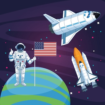 Astronauta z amerykańską flagą planeta rakieta statek kosmiczny eksploracja przestrzeni kosmicznej