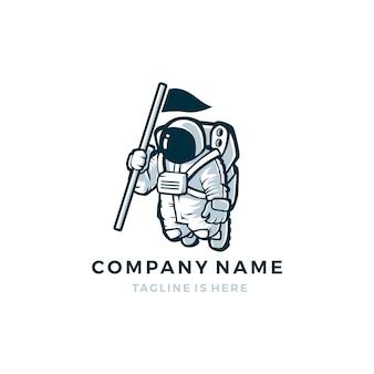 Astronauta z flagą wektora maskotka znaku logo szablonu ikony